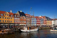 touristic distric nyhavn in capital of denmark copenhagen