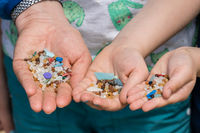 Tiny harmful plastic microbeads collected on the beach