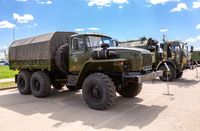 Green russian military truck Ural 4320