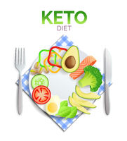 Keto diet, plate with healthy food, avocado, salmon and vegetables
