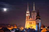 Zagreb cathedral and cityscape evening view