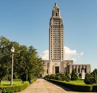Blue Skies on the Sidewalk Leading to State Capital Building Baton Rouge Louisiana