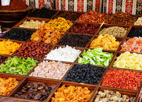 Dried fruits stall at the asian market