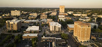 Aerial View Over the Downtown City Skyline and Buildings of Spartanburg NC