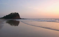 Kashid beach located 30 km from Alibaug famous for its beautiful clear blue water, white color sand and lovely streams, Maharashtra, India.