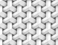White 3d geometric figures on black, seamless pattern