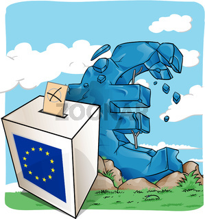 illustration of a ballot box on  euro symbol background