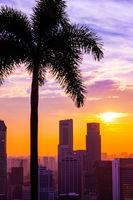 SINGAPORE - APRIL 14: Singapore city skyline and Marina Bay on April 14, 2016 in Singapore