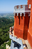 The view from the Pena palace  over the surrounding area. Sintra. Portugal