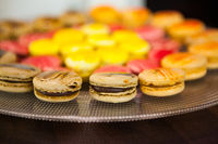 Colorful macaron cookies in a pastry shop