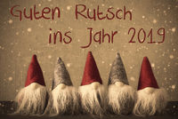 Gnomes, Snowflakes, Guten Rutsch 2019 Means Happy New Year