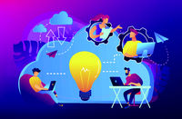 Cloud collaboration concept vector illustration.