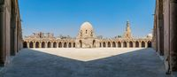 Panorama of the courtyard of Ibn Tulun public historic mosque, Cairo, Egypt