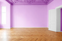 purple, pink painted room, apartment renovation with colorful walls  -