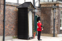London, United Kingdom - May 12, 2019: Guard in Castle Tower of London. British Guard in red uniform.