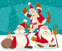 Christmas design with cartoon Santa Claus and snow