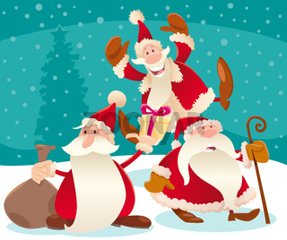 Christmas design with cartoon Santa Claus and snow