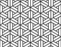 Black geometric figures on white, seamless pattern