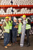 Gruppe Lagerarbeiter als Logistik Team