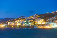 Waterfront in Mykonos Island at night