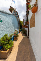 Bogota La Candelaria district small alley with flowering plants