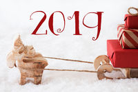 Reindeer With Sled On Snow, Text 2019