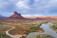 Colorado River above Moab in Utah aerial view