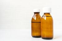 Medicine bottles of brown glass