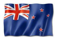 New Zealand flag isolated on white