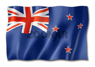 New Zealand flag isolated on white