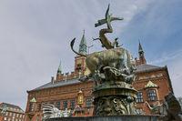Copenhagen City Hall square and old buildings (Københavns Rådhus) in central district