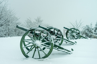 An old metal cannon. The cannon participated in the battles of liberation of Bulgaria in 1877.