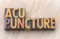 acupuncture word abstract in wood type