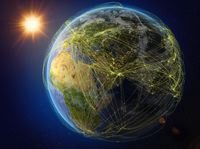 Qatar on Earth with network