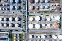 liquid storage tanks in petrochemical plant