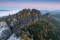 Schrammsteinaussicht im Herbst
