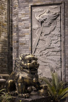 Lion bronze statue at night in China