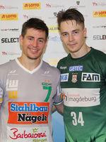 Alan Damgaard  (Frisch Auf Göppingen) und Michael Damgaard (SC Magdeburg beim Ottostadt Magdeburg EHF-Cup Finals 2018