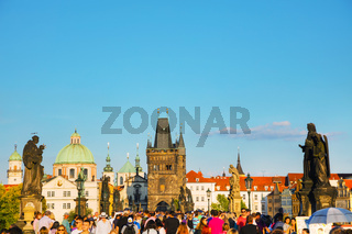 Crowded with tourists St Charles bridge