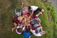 top view of group friends enjoying picnic time
