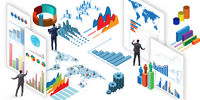 Businessman in business visualization and infographics concept