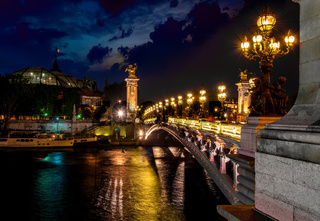 Night over bridge Alexandre III