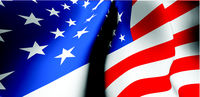 Waving USA flag close up. Wide angle view. American national symbol. Vector