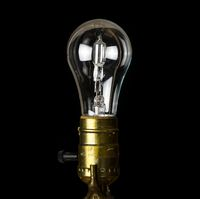 Brass light holder with a halogen lightbulb soon to be banned in EU
