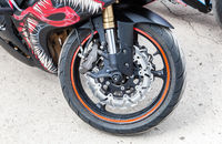 Front wheel of sports motorcycle