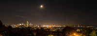 Panoramic night view of Elliott Bay and all of downtown Seattle