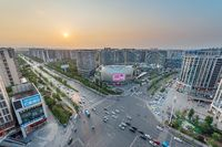 Commercial mall and crossroad aerial view in Chengdu, China