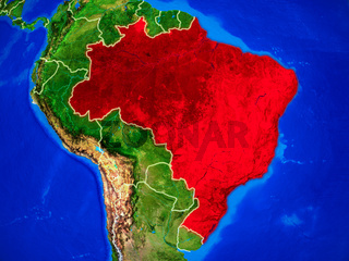 Brazil on Earth with borders