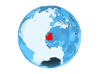 Mauritania on blue globe isolated