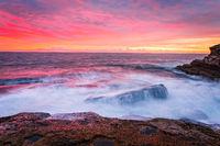 Blazing red sunrise over the Sydney east coast